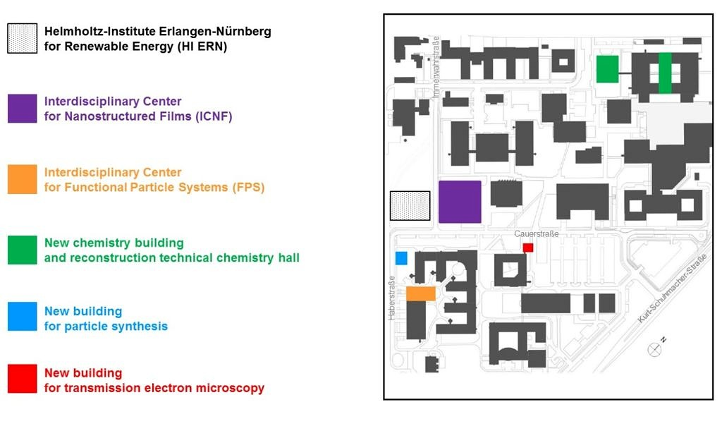 Overview of the research infrastructure created bei EAM on FAUs south campus (Image: EAM)